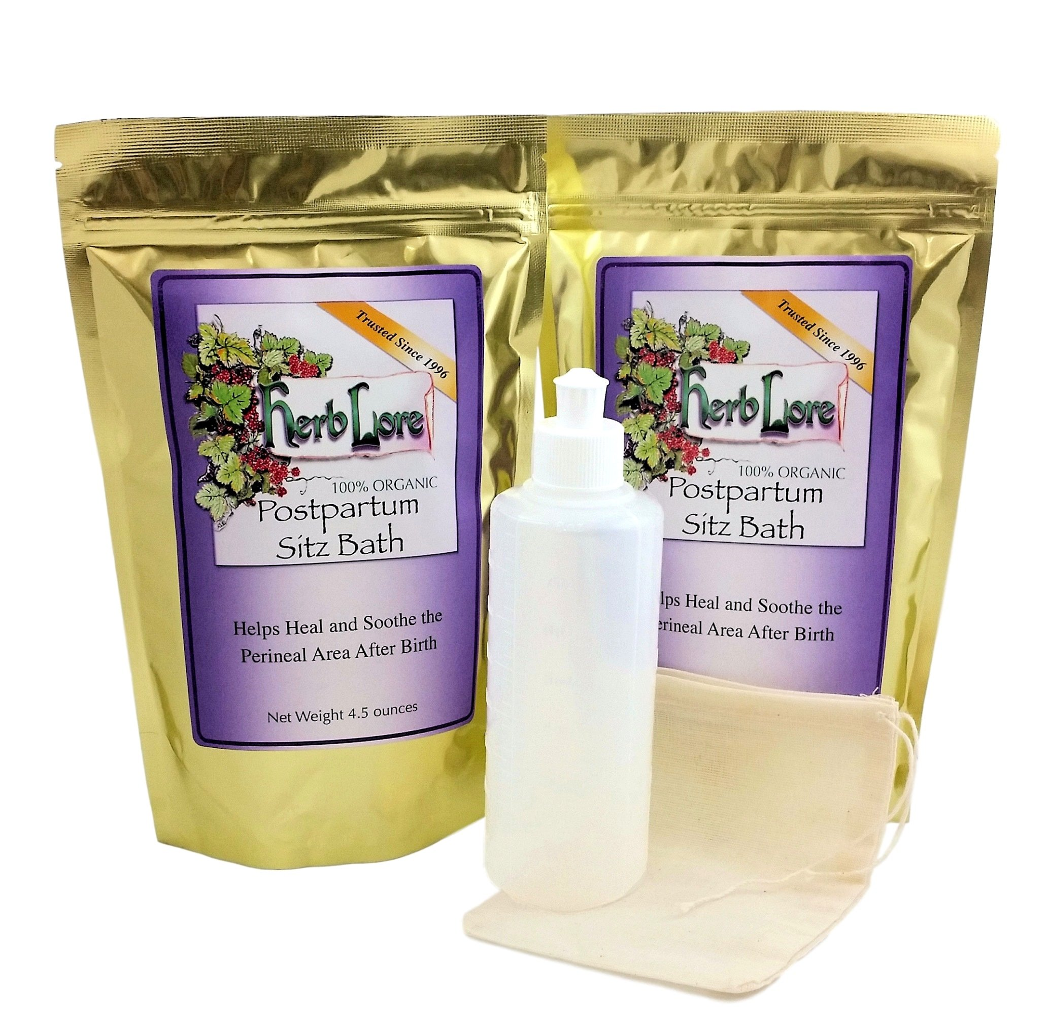 Herb Lore Organic Postpartum Sitz Bath (2 Bags), Muslin Steeping Bag, and Perineal Irrigation Bottle Bundle - Helps Heal & Soothe Tissues After Giving Birth - Provides Episiotomy Relief and Care