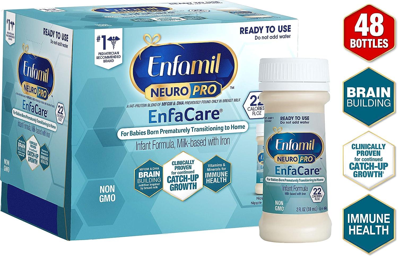 Enfamil NeuroPro EnfaCare Ready to Feed Premature Baby Formula Milk Nursette, 2 fl. oz. bottles (48 bottles) Iron, MFGM, Omega 3 DHA, Probiotics, Immune Support & Brain Development(Package May Vary)