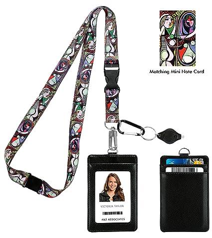 Pablo Picasso Girl Before a Mirror Correa para el cuello del acollador con cartera de ID de cuero de la PU Monedero con 3 bolsillos para tarjetas, ...