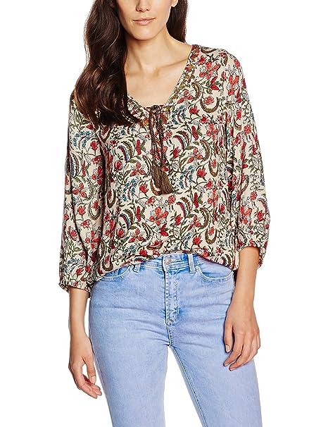 Cortefiel M/L Borlones, Blusa para Mujer, Reds, L