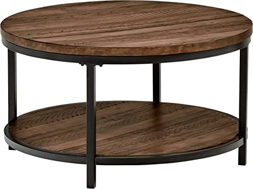 Amazon Brand Stone Beam Larson Industrial Wood Metal Round Coffee Table