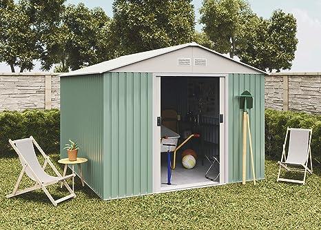 Hoggar Caseta metálica verde/beige para almacenamiento 7,86 m2 ...