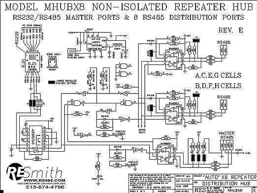 amazon com mhubx8 b 8 port rs485 repeater hub with rs232 rs485 rh amazon com RS 485 Communication Wiring 485 PTZ Wiring