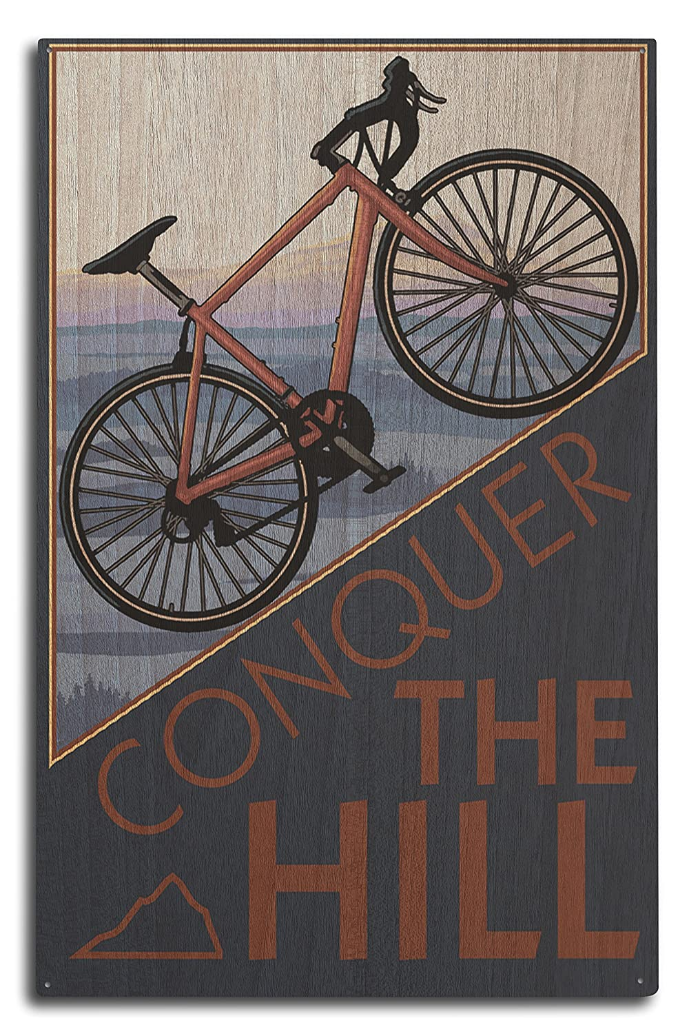Conquer the Hill – Mountain Bike 10 x 15 Wood Sign LANT-31360-10x15W B07365417Z 10 x 15 Wood Sign10 x 15 Wood Sign