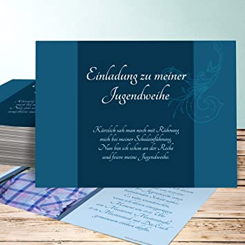 Schön Einladungskarten Jugendweihe Selbst Gestalten, Sympathie 10 Karten,  Horizontal Einfach 148x105 Inkl. Weiße Umschläge