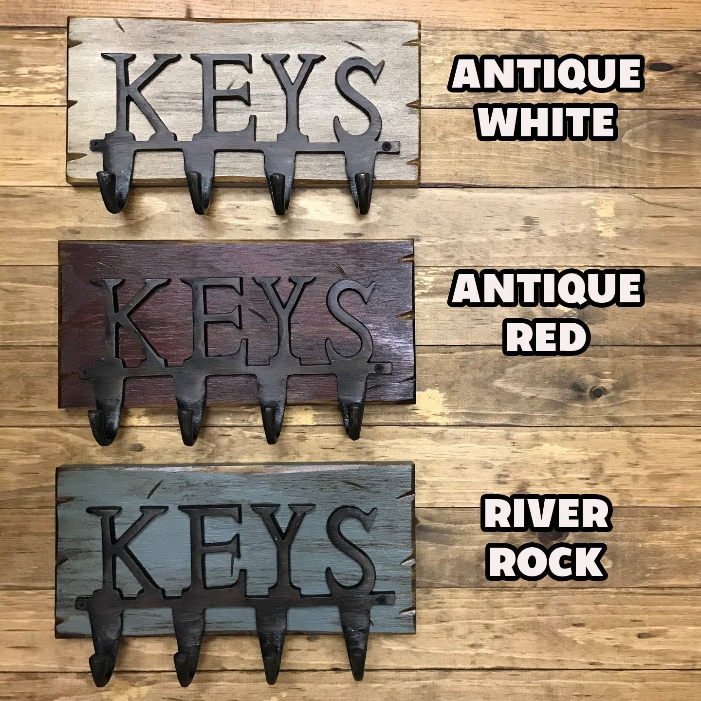 Country Distressed Decor 13 X 7.5 KEY RACK forKEYS *Wall Key Holder *Rustic Wood with Metal KEY Hooks Antique Cream Red White Blue