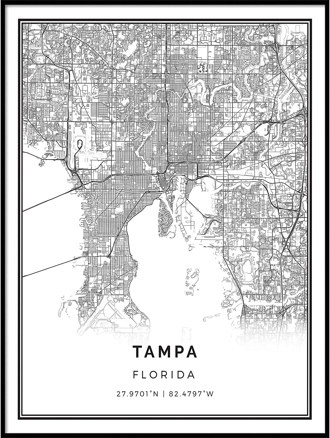 Squareious Tampa map Poster Print | Modern Black and White Wall Art | Scandinavian Home Decor | Florida City Prints Artwork | Fine Art Posters 16x20