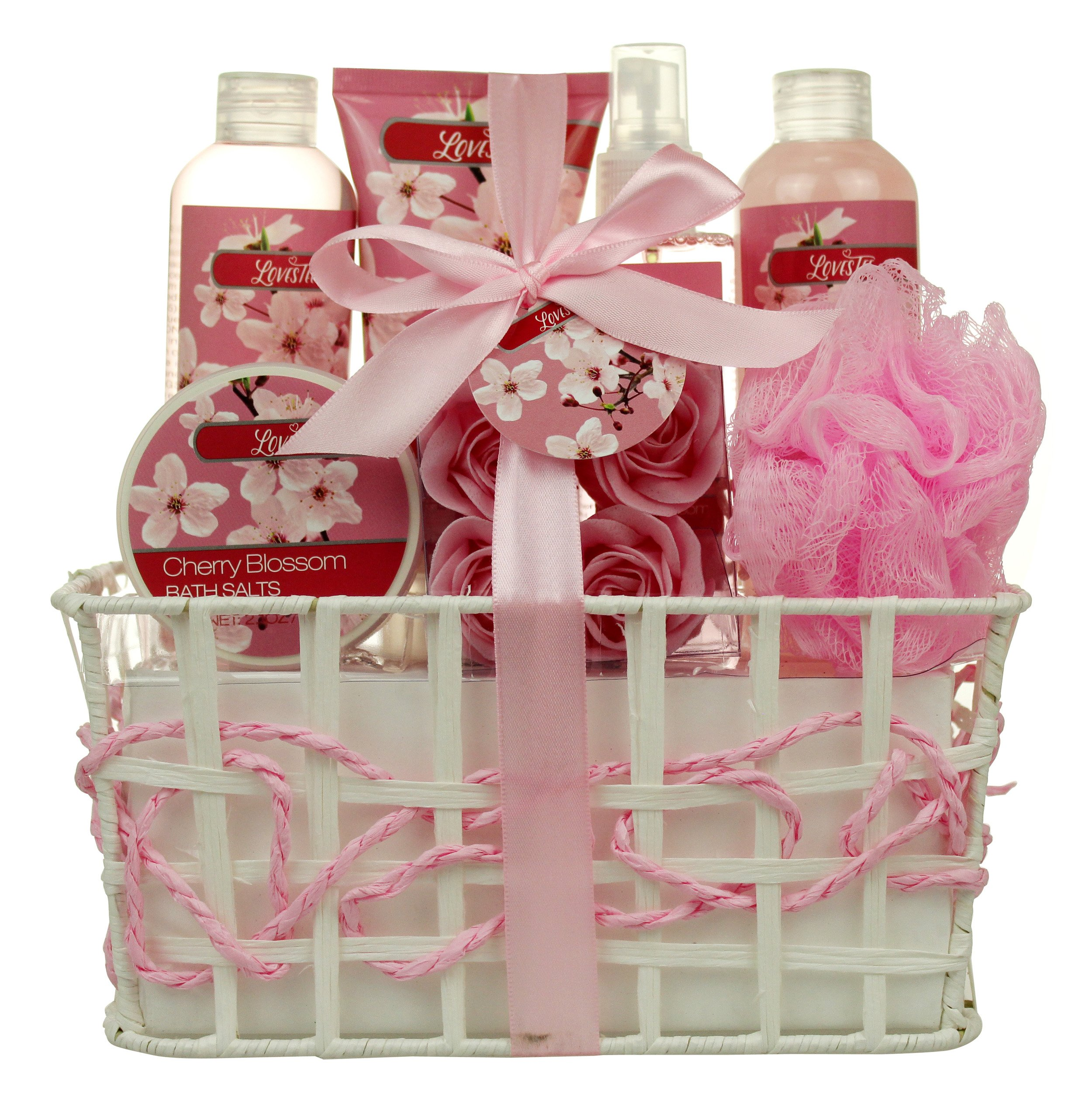Relaxing Bath Spa Kit for Women and Teens, Gift Set Bath, Body Works- Cherry Aromatherapy Spa Gift Basket Includes Loofah Sponge, Bath Salt, Body Lotion, Roses, Body Mist, Shower Gel And Bubble Bath