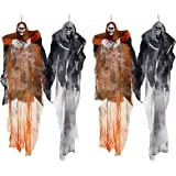 Hanging Halloween Decoration - Realistic Floating Ghoul Ghost Skeleton Face - 4 Pieces - Use In Home Or Office - Create Frightening Atmosphere & Make People Jump As They Walk Past The Horror