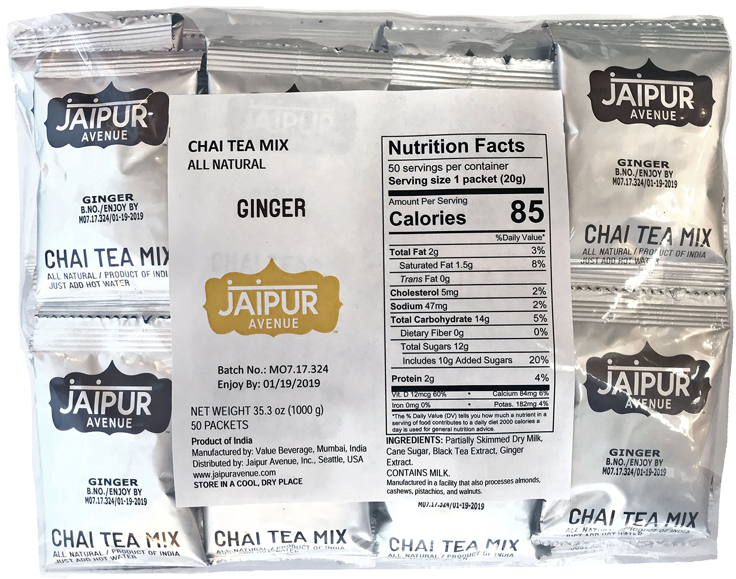 Jaipur Avenue Chai Tea Mix Ginger (50-Count Bag) by Jaipur Avenue