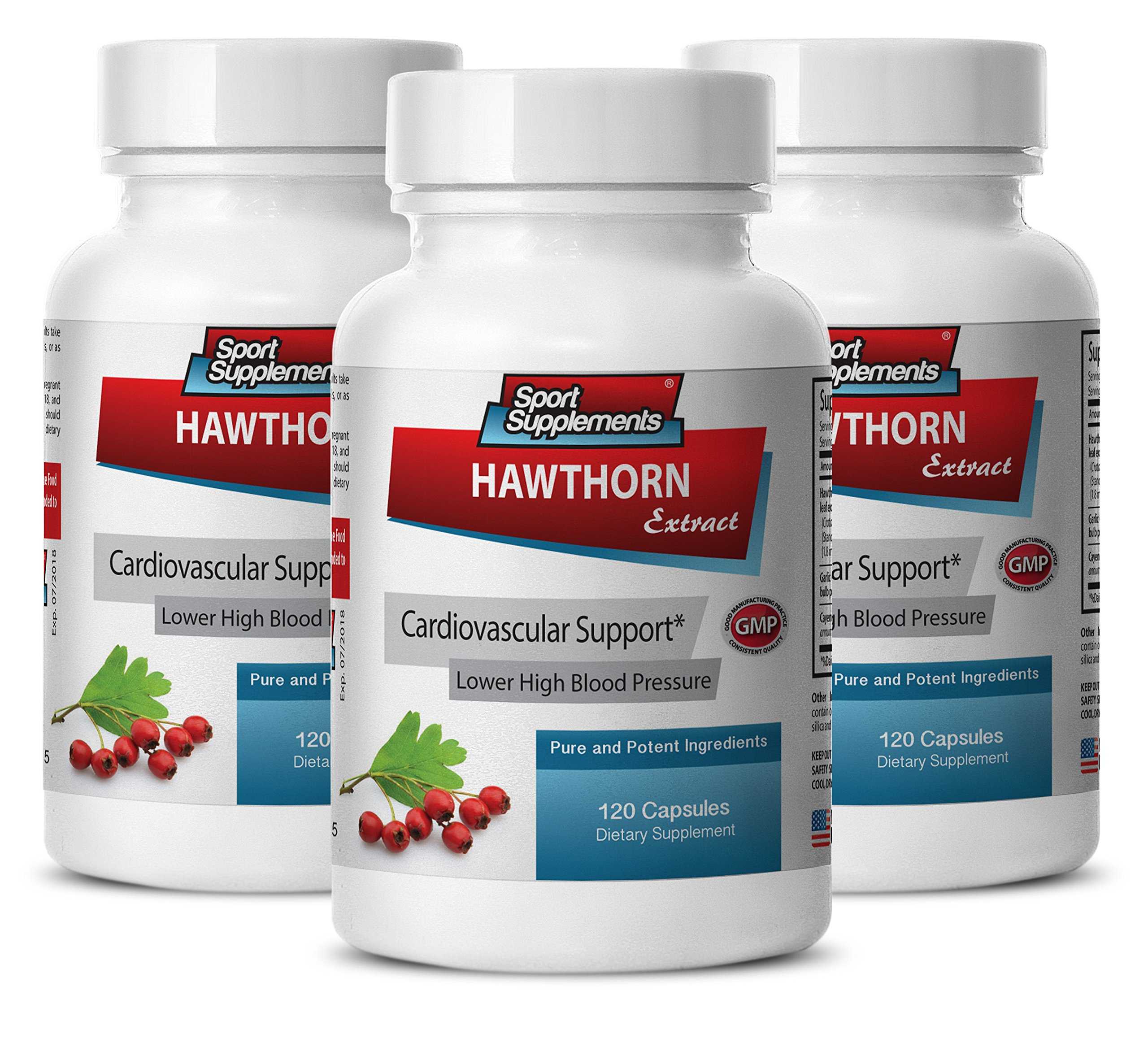 Cayenne pepper pills - Hawthorn Berry Extract 360 Capsules - Alieves anxiety (3 Bottles)