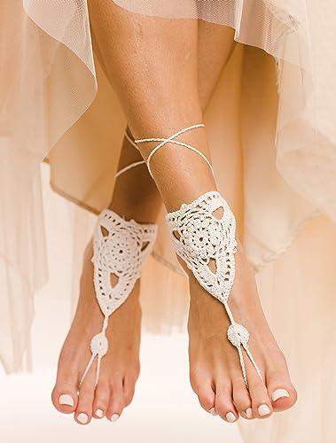 fed819b27cb17 Amazon.com: Pearla Barefoot Sandals Crochet Shoes: Handmade