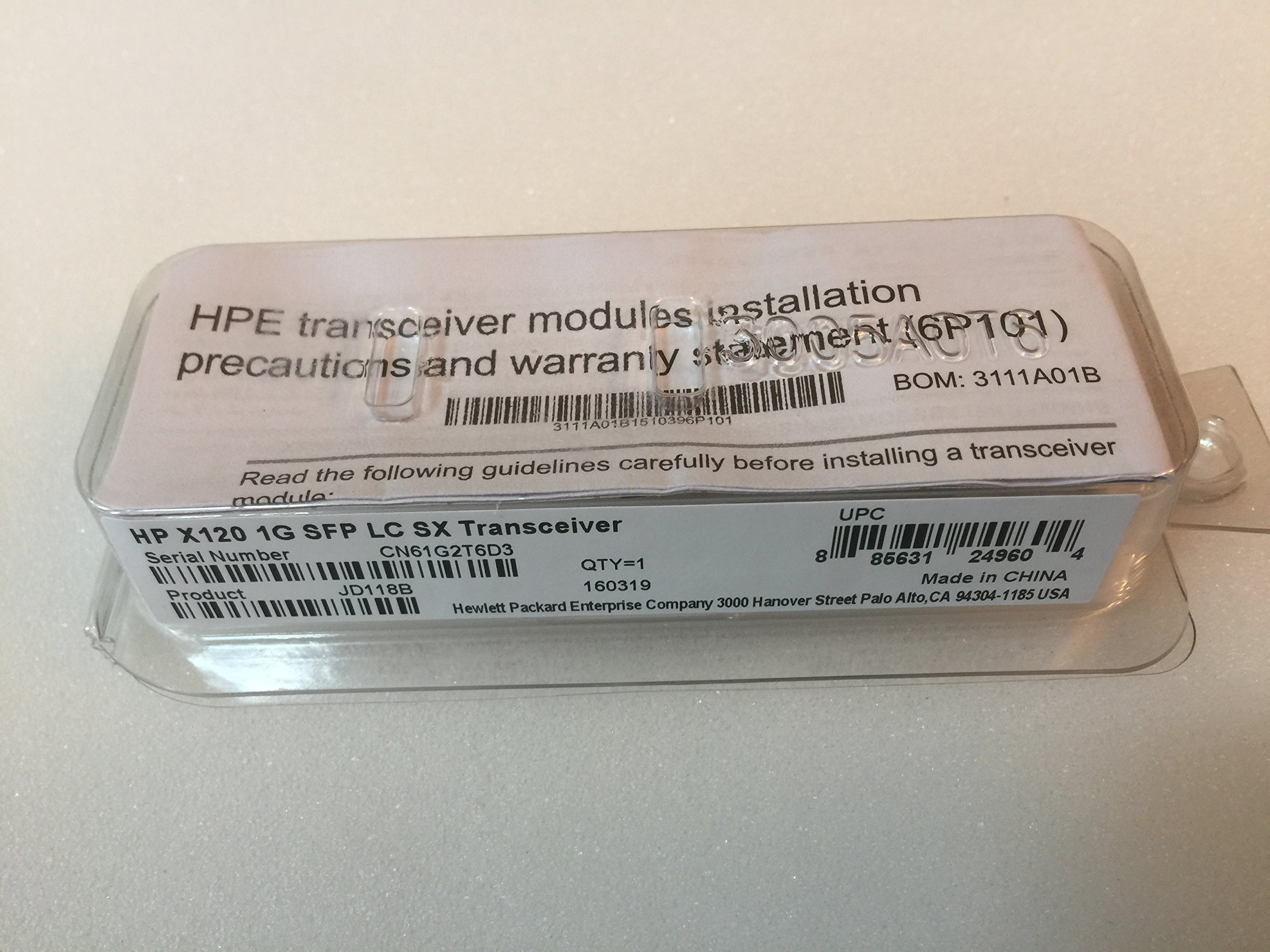 HP JD118B X120 1Gb SFP LC SX Transceiver - Small Form-factor Pluggable (SFP) Gigabit transceiver with 850nm laser that provides a full-duplex Gigabit solution up to 550m (1804ft) on multimode fiber - Has one LC 1000BASE-SX port by HP