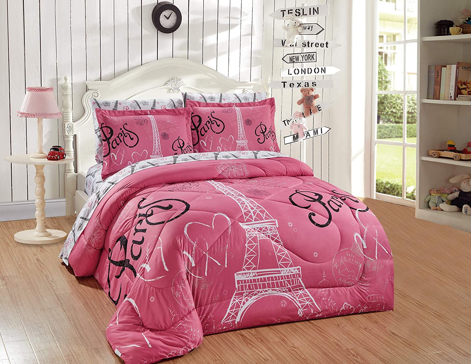 Better Home Style Pink White Black Paris Eiffel Tower Bonjour Design 7 Piece Comforter Bedding Set Bed in a Bag with Complete Sheet Set # FS Paris Pink (Queen)