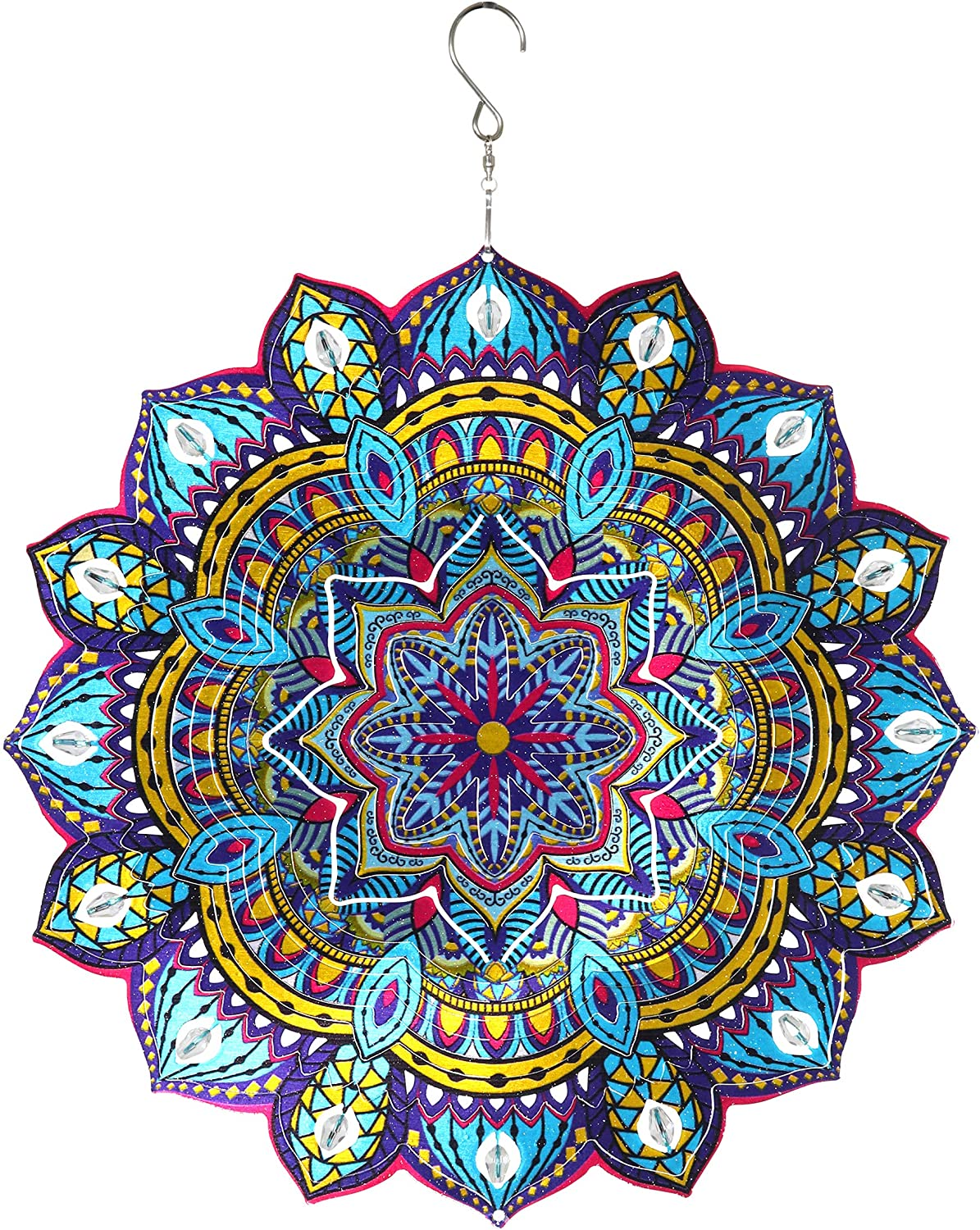 Exhart 3D Mandala Wind Spinner – Laser Cut Metal Mandala Art Hanging Décor w/Crystal Accent Beads –Starburst Décor, Hanging Wind Spinner, 3D Metal Art, Indoor/Outdoor Decor, 12 Inches