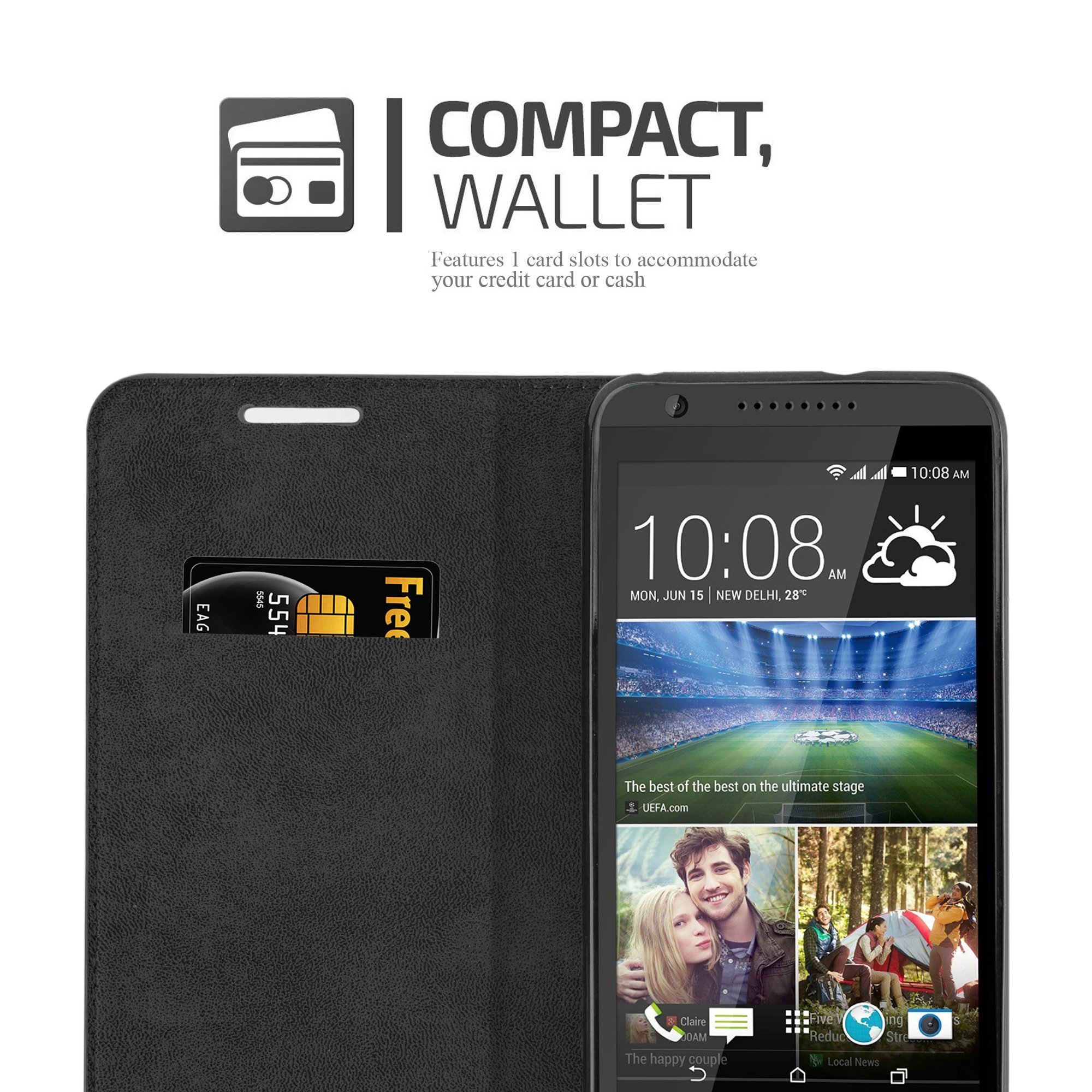 Cadorabo Case works with HTC DESIRE 820 Book Case in NIGHT BLACK (Design INVISIBLE CLOSURE) – with Magnetic Closure, Stand Function and Card Slot – Wallet Case Etui Cover PU Leather by Cadorabo (Image #3)