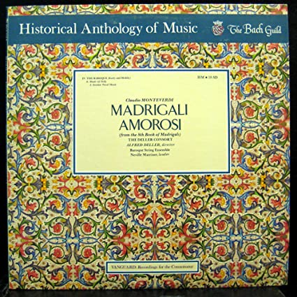 MARRINER DELLER CONSORT MOTEVERDI MADRIGALI AMOROSI vinyl record