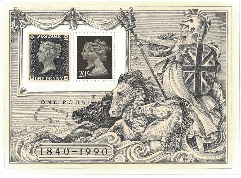 /miniatura foglio di francobolli perforati con 150TH Anniversary of the Penny Black timbro//Penny Black//1840/ /1990 Francobolli/
