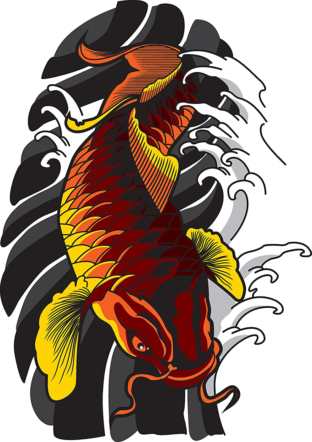 Traditional Japanese Koi Fish Tattoo Style Drawing Vinyl Decal Sticker 4 Tall Exterior Accessories Amazon Canada