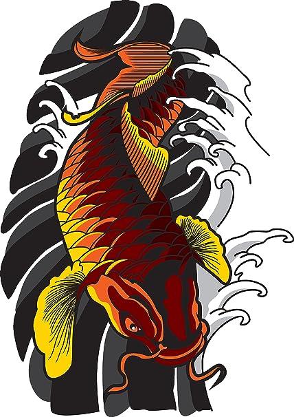 Amazoncom Traditional Japanese Koi Fish Tattoo Style Drawing Vinyl