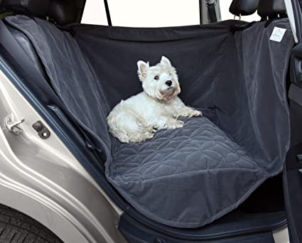 waterproof microfiber half back seat hammock pet seat cover one size fits all grey amazon     waterproof microfiber half back seat hammock pet seat      rh   amazon