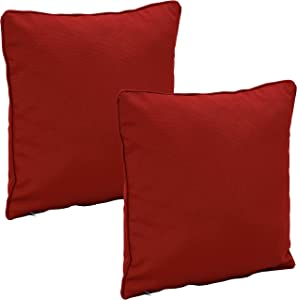 Sunnydaze Set of 2 Outdoor Decorative Throw Pillows - 16-Inch Square Olefin Fabric Accent Toss Pillows for Patio Furniture - Pillow Set for Outside Bench, Chair and Loveseat - Red