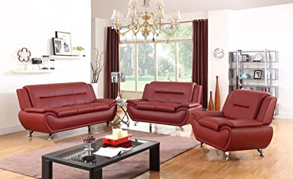 Golden Coast Furniture 3 PC Leather Sofa Sectional Sets with Multiple  Colors (Red)