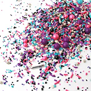 Milky Way| Space Galaxy Pink Purple Black Silver New Year's Colorful Candy Sprinkles Mix For Baking Edible Cake Decorations Cupcake Toppers Cookie Decorating Ice Cream Toppings, 4OZ