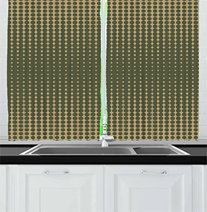 Amazon.com: Ambesonne Olive Green Kitchen Curtains, Abstract ...