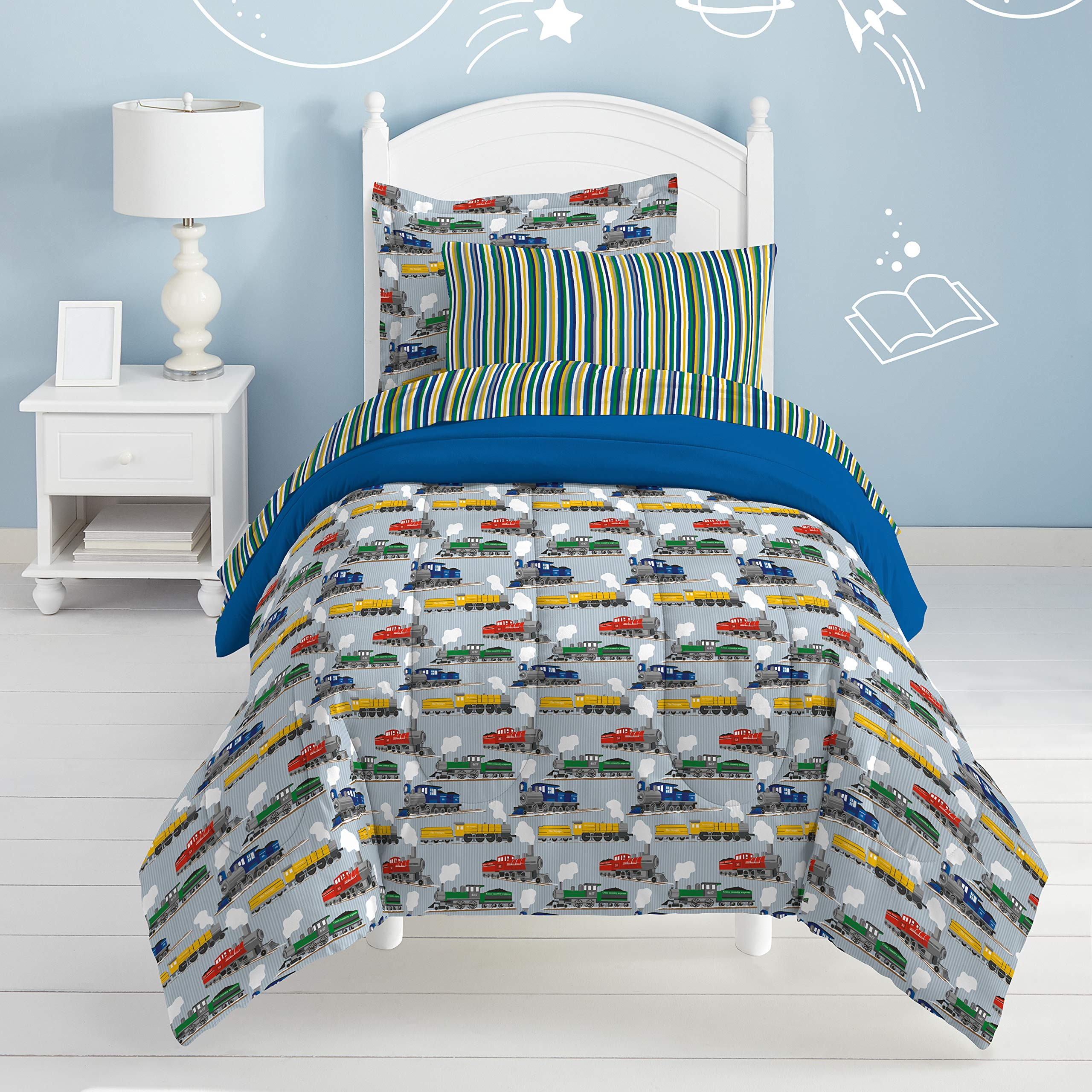 Dream Factory Trains Ultra Soft Microfiber Boys Comforter Set, Blue, Full by Dream Factory (Image #3)