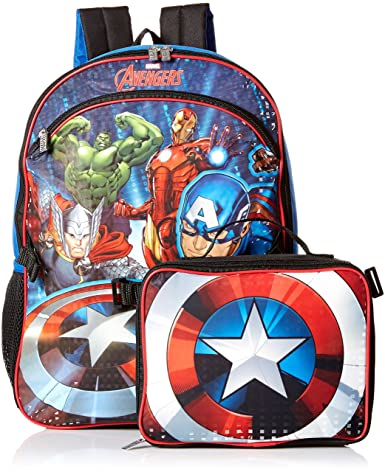 Marvel Boys' Avengers Backpack with Lunch, Blue