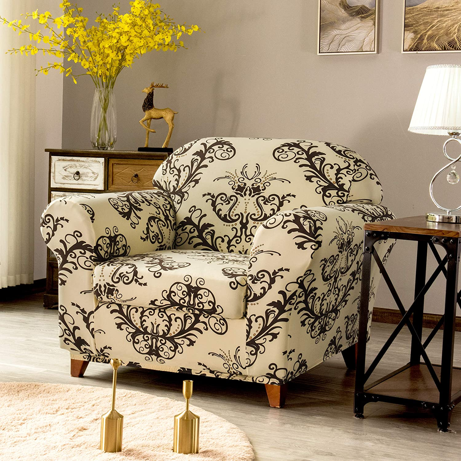 TIKAMI 2-Piece Spandex Printed Fit Stretch Sofa Slipcovers Spandex Washable Furniture Protector with Cushion Cover Chair, Coffee