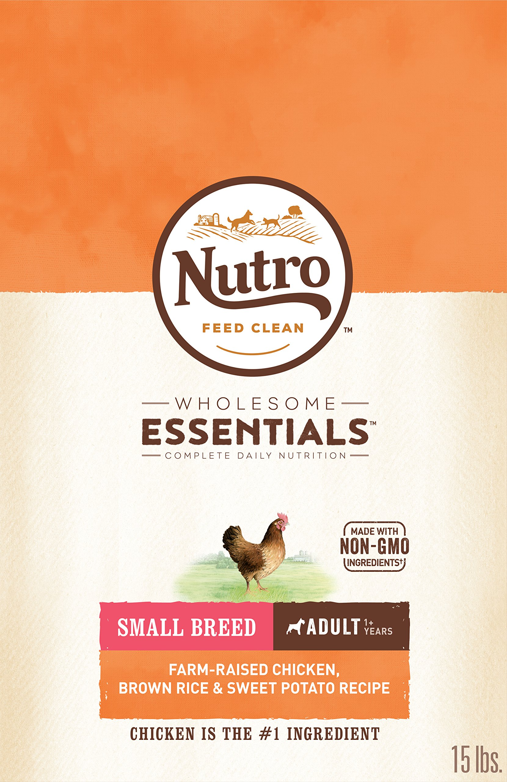 NUTRO WHOLESOME ESSENTIALS Natural Adult Small Breed Dry Dog Food Farm-Raised Chicken, Brown Rice & Sweet Potato Recipe, 15 lb. Bag by Nutro