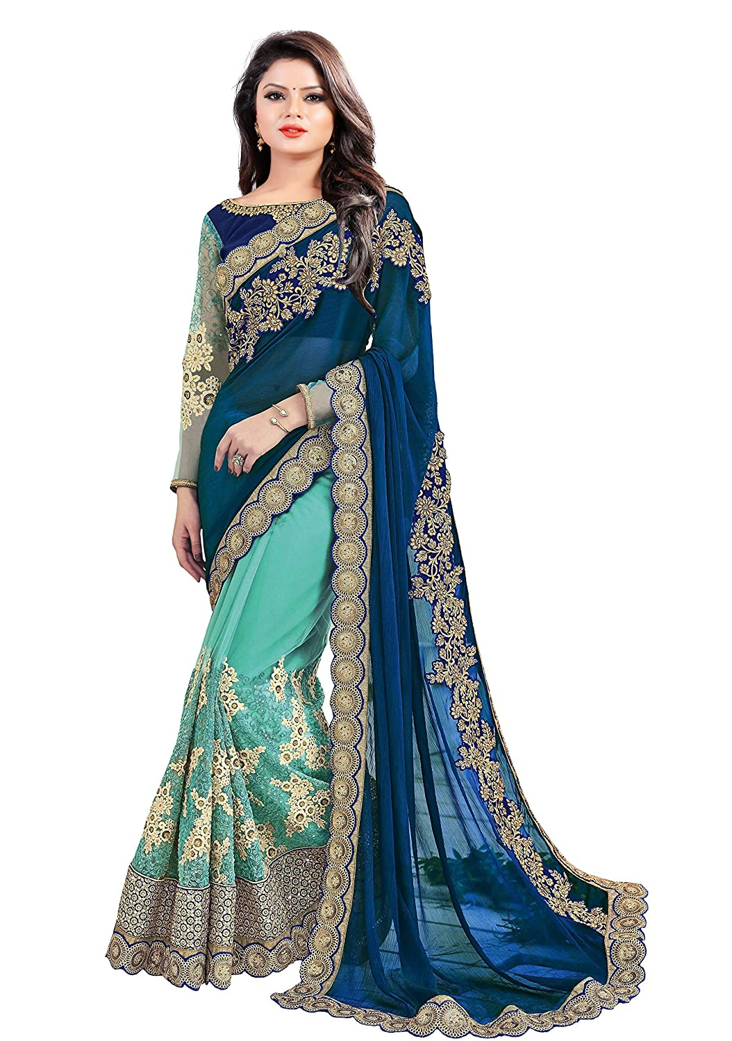 64191d8a6b Arohi Designer Silk, Georgette and Net Embroidered Saree with Blouse Piece  (Blue and Green, Free Size): Amazon.in: Clothing & Accessories
