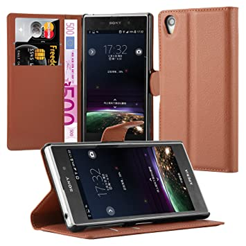 Cadorabo Carcasa para Sony Xperia Z1 – Carcasa en de Chocolate marrón Funda con Tarjetero y función Atril Case Cover Carcasa Funda Book Style Color ...