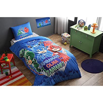 TI Home PJ Masks Licensed Duvet Cover Set, 100% Cotton Ranforce Fabric Single Size