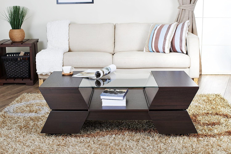Amazon.com: IoHOMES Annika Ultra Modern Glass Top Coffee Table, Espresso:  Kitchen U0026 Dining