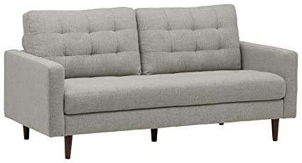 Rivet Cove MidCentury Tufted Sofa 80u0026quot W Light Grey Grey Tufted Sofa L23