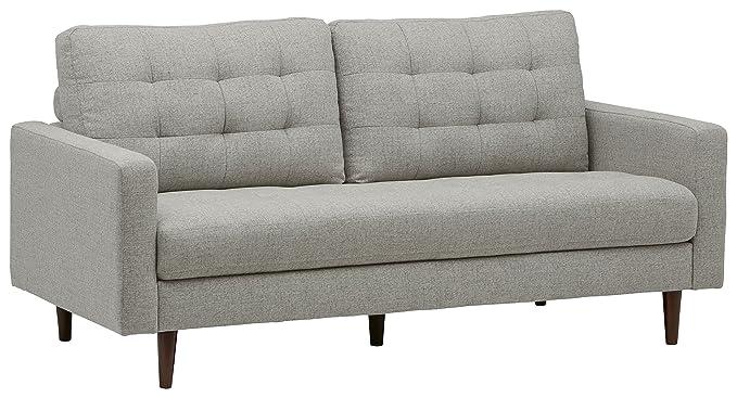 "Rivet Cove Mid-Century Tufted Sofa, 80"" W, Light Grey"