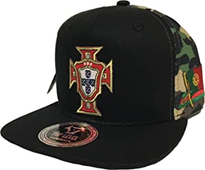 Portugal Soccer HAT 2 Logos Black CAMO MESH