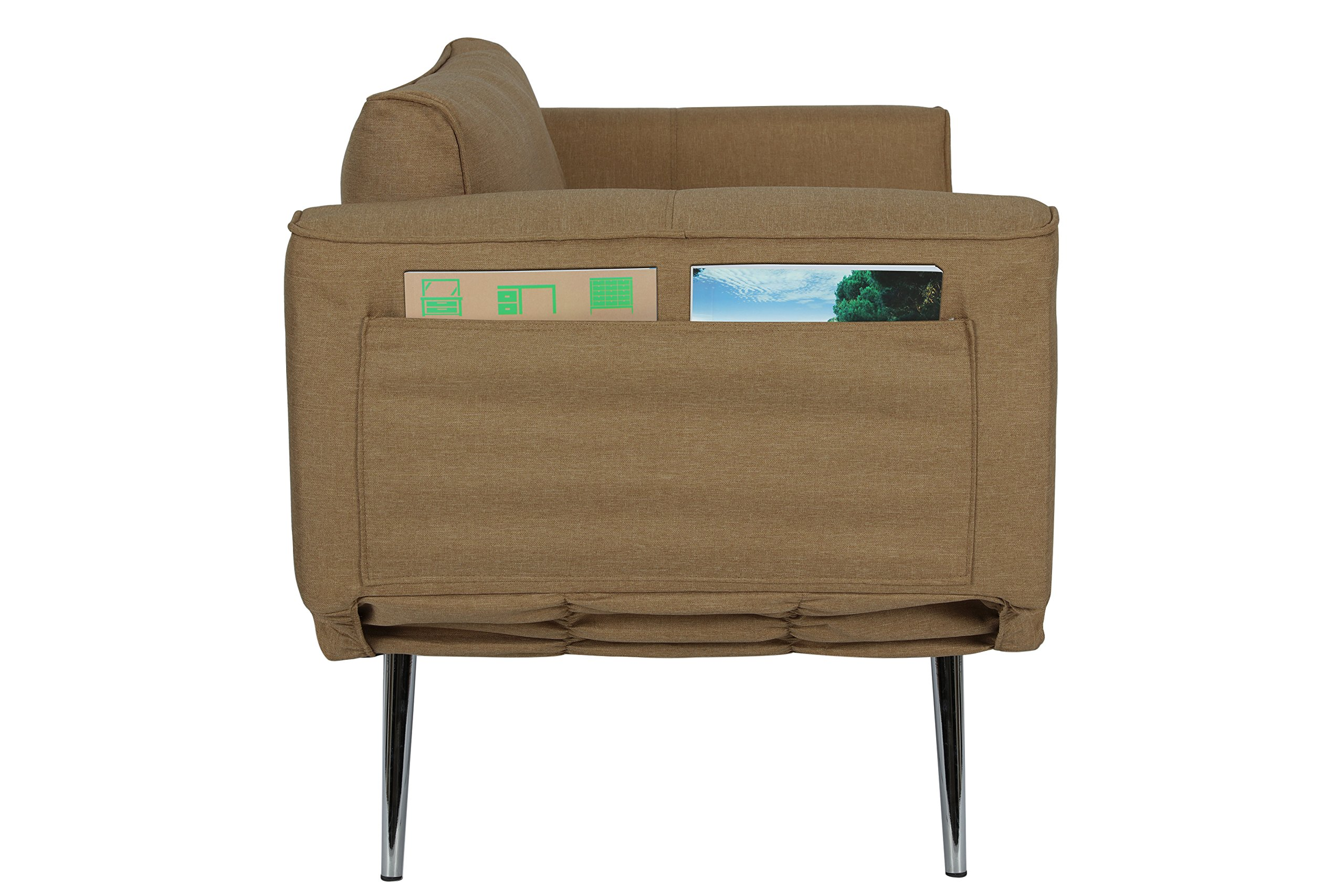 DHP Euro Sofa Futon Loveseat with Chrome Legs and Adjustable Armrests - Tan by DHP (Image #6)