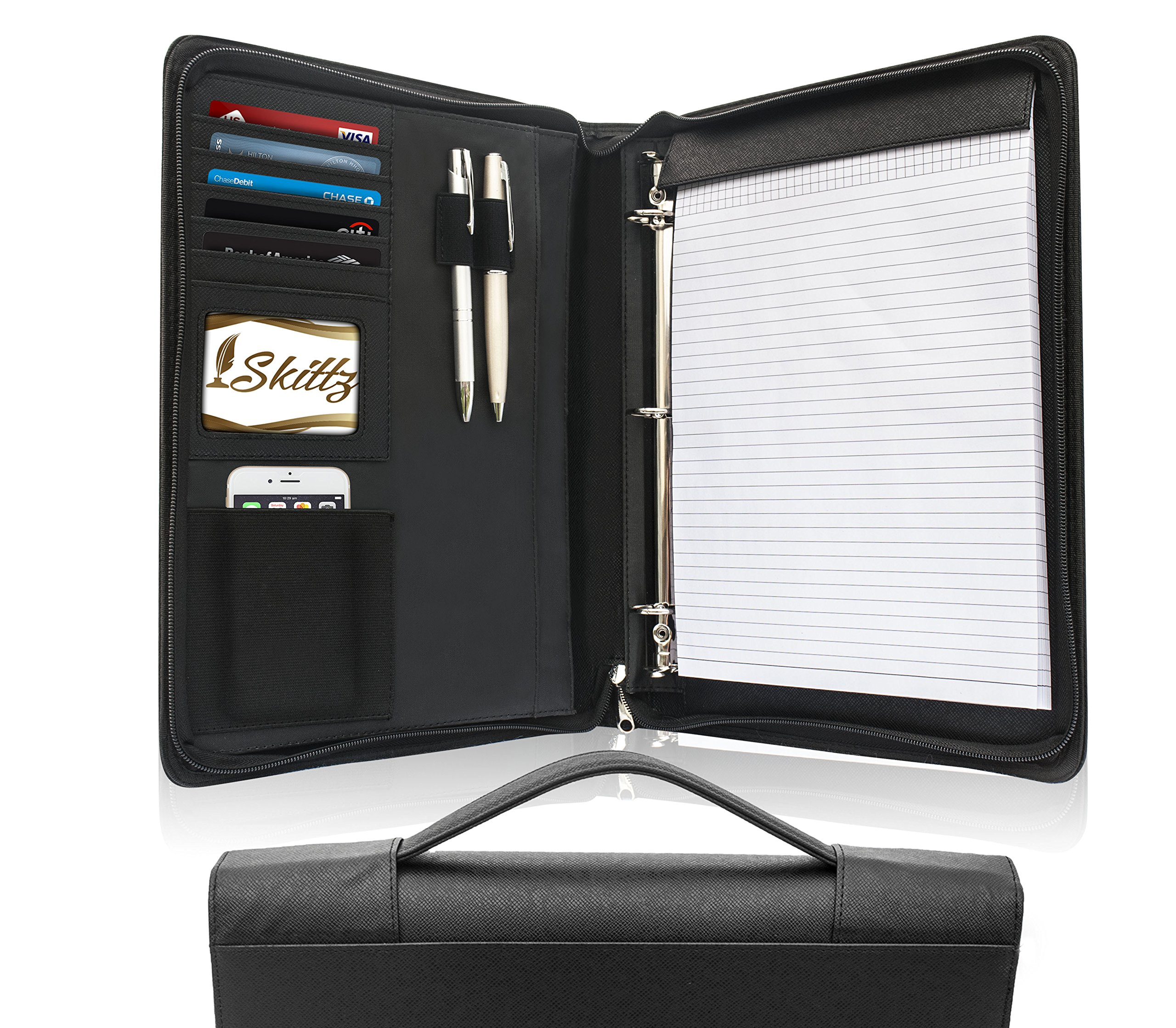 Skittz Leather Zippered Padfolio Business Portfolio With Carry Handle & Removable 3 Ring Organizer