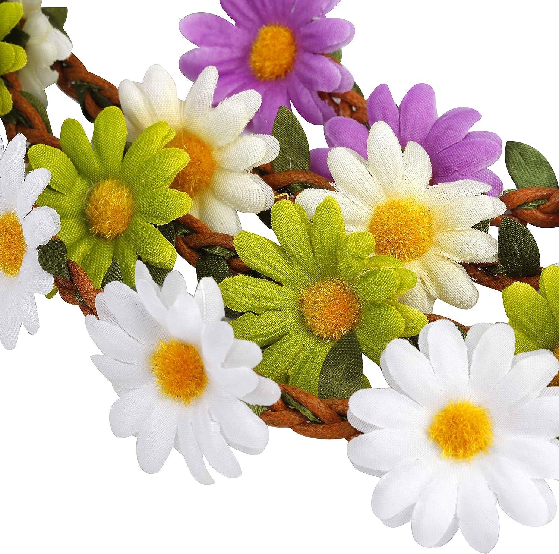 Diadema de Flores 12 Piezas Bohemia Corona de Flores con Cinta El/ástica Ajustable para Mujeres Ni/ñas Fiesta Playa