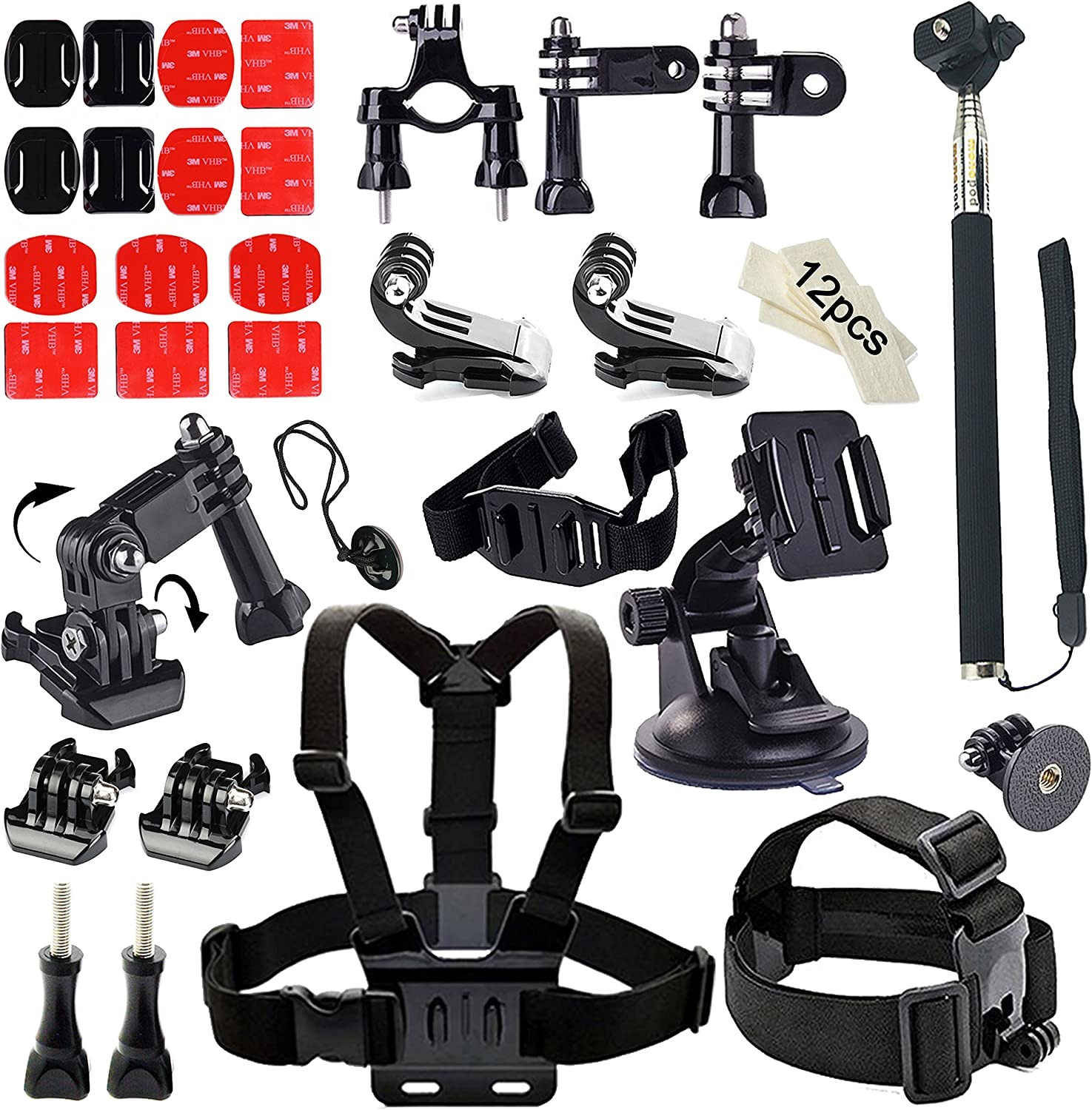 Soft Digits Accessories Bundle Kit for GoPro Hero 5/4/3/2/1 Action Camera Accessory Set for Ourdoor Sports in Swimming Diving Rowing Climbing Bike Riding(44 Items)