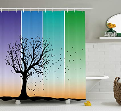 Lunarable Nature Shower Curtain Autumn Tree Silhouette And Wind Blowing Away The Falling Leaves Colorful