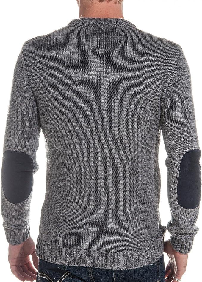 BLZ Jeans Pull tricot gris homme fashion Couleur : Gris