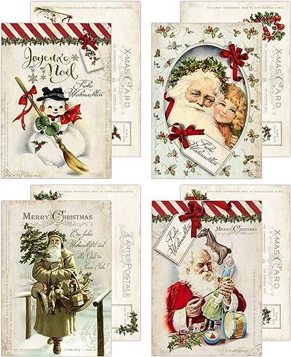 Immagini Vintage Natale.20 Cartoline Di Natale Nostalgia Pura Vintage 10 5 X 14 8 Cm Amazon It Cancelleria E Prodotti Per Ufficio
