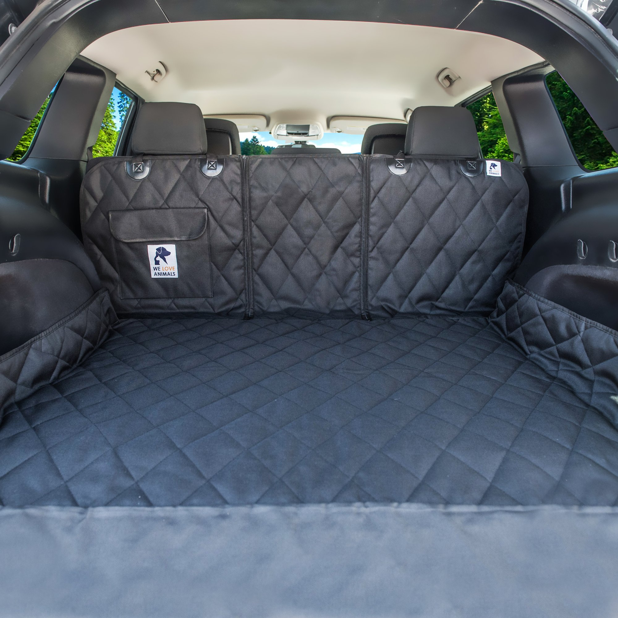 Dog Cargo Liner for SUV, Van, Truck & Jeep - Waterproof, Machine Washable, Nonslip Pet Seat Cover with Bumper Flap will keep your vehicle as clean as ever - XL, Universal Fit - BONUS Carry Bag by WE LOVE ANIMALS (Image #2)