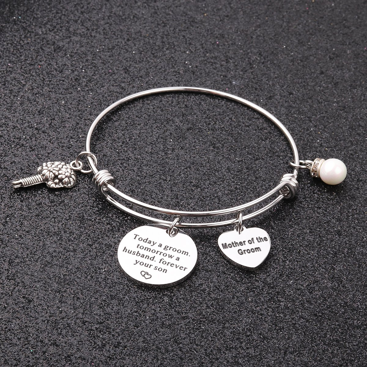 AZFEIYA Mother in Law Gift Mother of The Groom Bracelet Mother in Law Jewelry Today a Groom Tomorrow a Husband Forever Your Son Wedding Jewelry