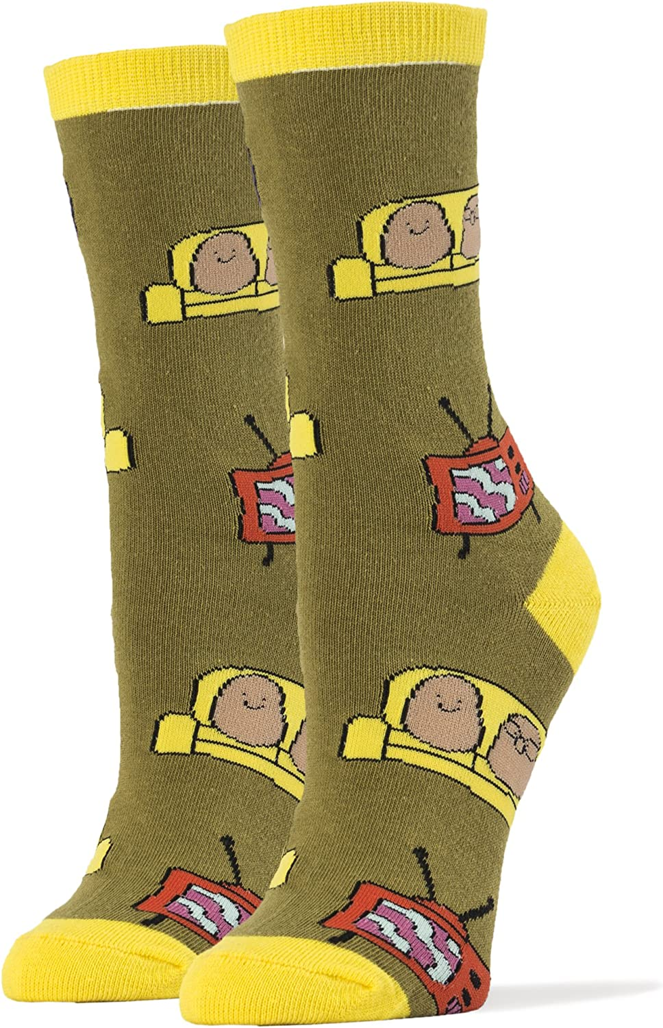 Oooh Yeah Womens Luxury Combed Cotton Crew Socks Couch Potato Party